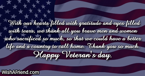 Thank You Veterans Day Messages