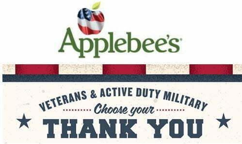Applebee's Veterans Day Free Meals, Freebies, Deals