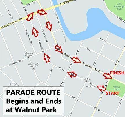Petaluma Veterans Day Parade 2018 Routes Map
