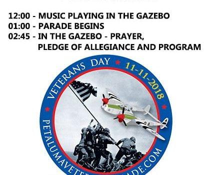 Petaluma Veterans Day Parade 2018 Schedule