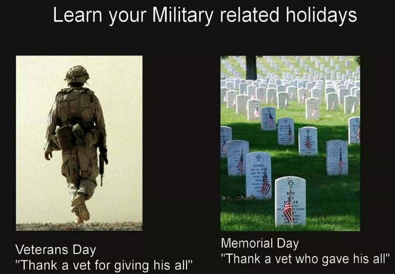 Veterans Day vs Memorial Day - Military Holidays